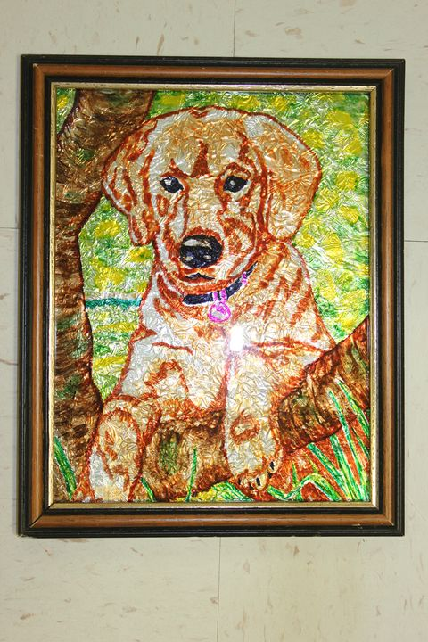 Dog by a Tree - Fides' Creations