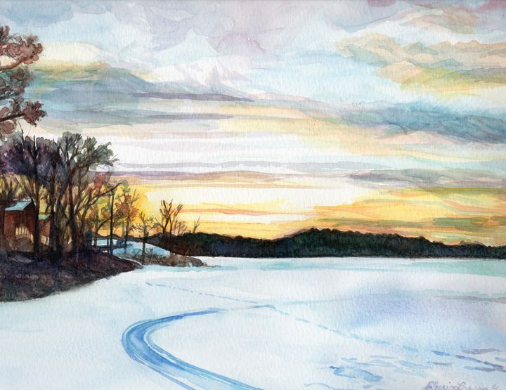 Winter Sunset - Elysia Larson Studio