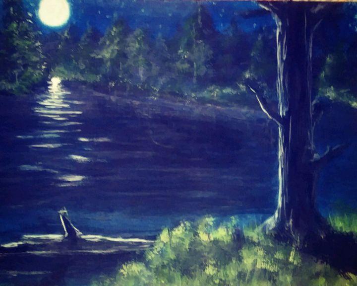 Piecefull Moonlight Over Water - BeholdersEyes - Paintings