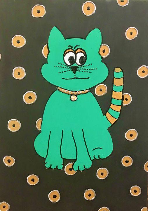 kermit the cat - fuzzies pet art