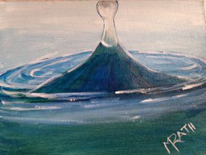 Water drop in acrylic on canvas
