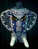 3-d mosaic mannequin elephant art