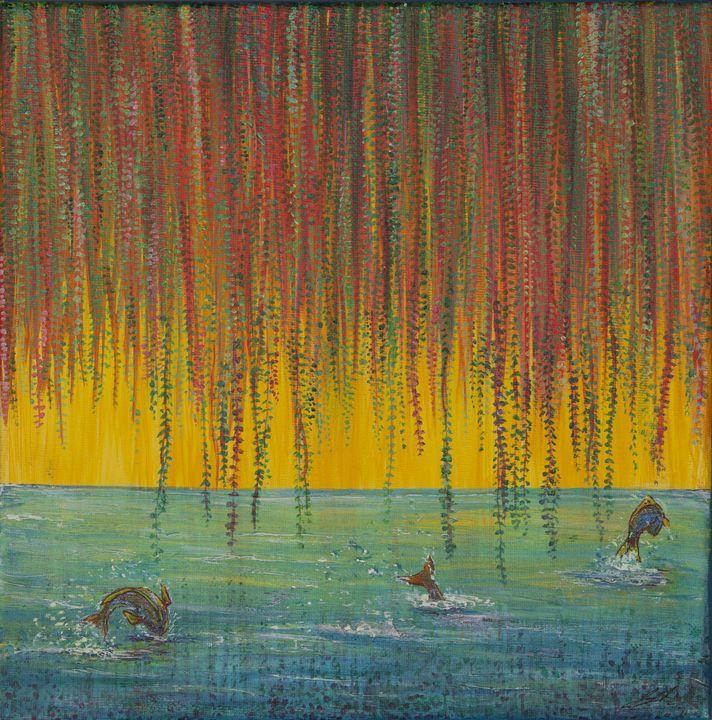 Fish Under the Willow - Joy Bliss Art