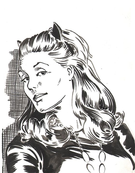 """Julie Newmar as """"Catwoman"""" - Robert Berry's Drawing Table"""