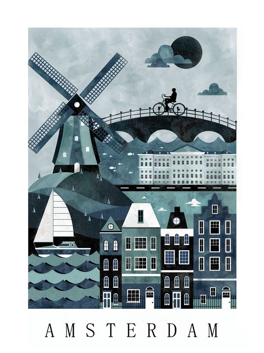 Amsterdam Travel Poster Print - City Poster Illustrations