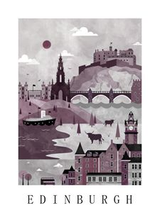 Edinburgh Travel Poster Illustration