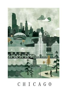Chicago Poster Illustration - City Poster Illustrations