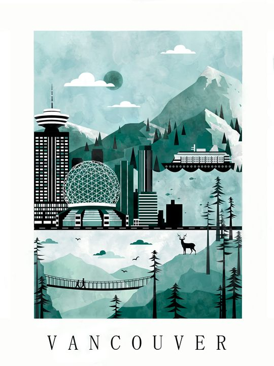 Vancouver City Poster Illustration - City Poster Illustrations