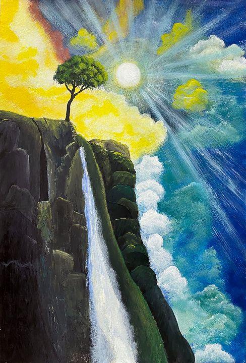 """Tree Over Waterfall"" - ArtbyArtak"