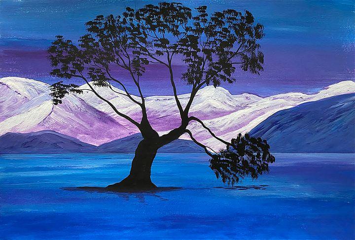 """Lonely Tree on Lake"" - ArtbyArtak"
