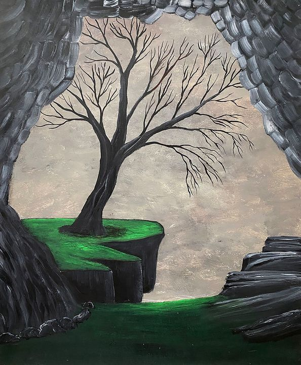 """Old Tree by The Cave"" - ArtbyArtak"