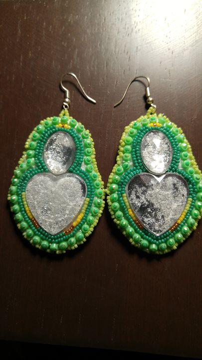 SOLD Green beaded heart earrings - Elena Estrada's Sad Water Designs