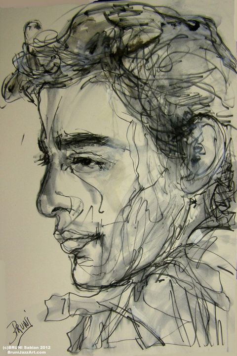 Ayrton Senna Drawing by BRUNI - BRUNI Sablan
