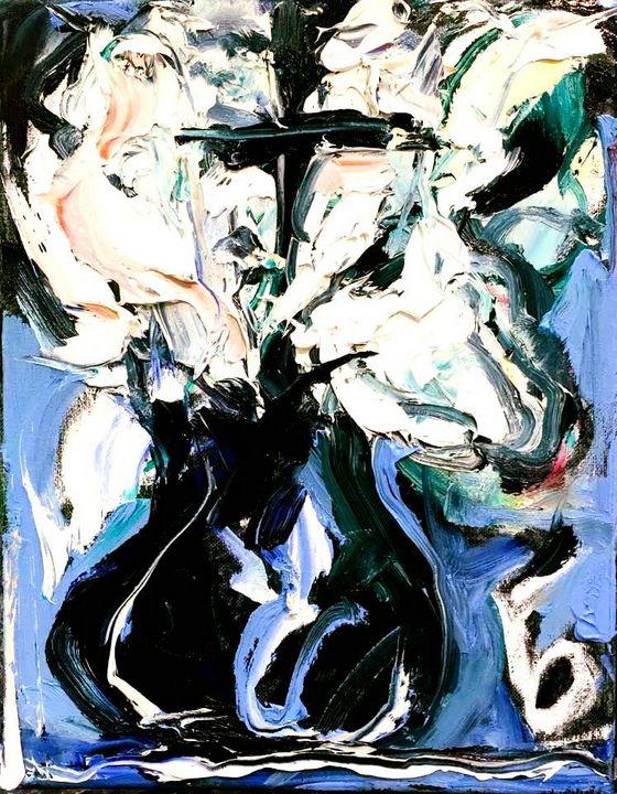 'White Floral Black Vase for Joao' - BRUNI Sablan