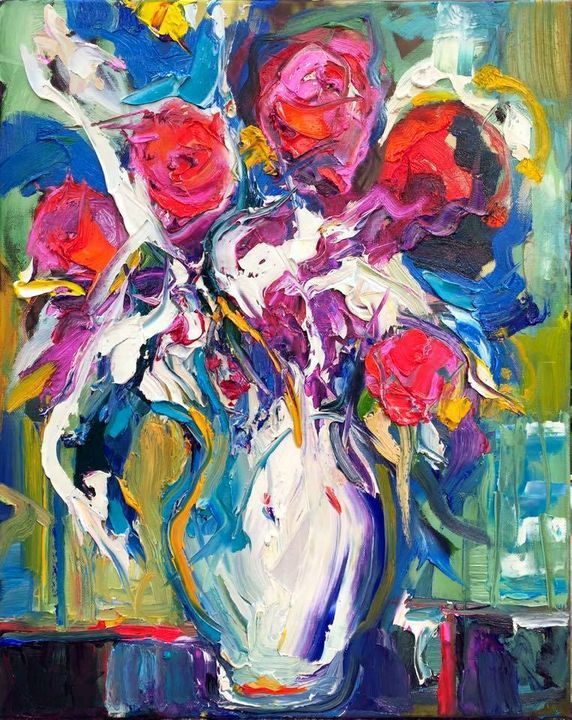 White Vase Pink Flowers by BRUNI - BRUNI GALLERY