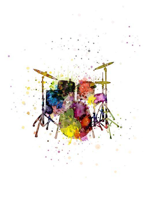 Drum - Digital watercolour print - Studio IN Budapest