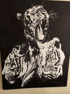 Tiger canvas large with sharpie ink