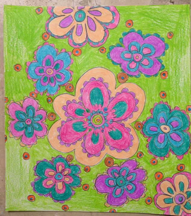 Flowers on green background - Christina
