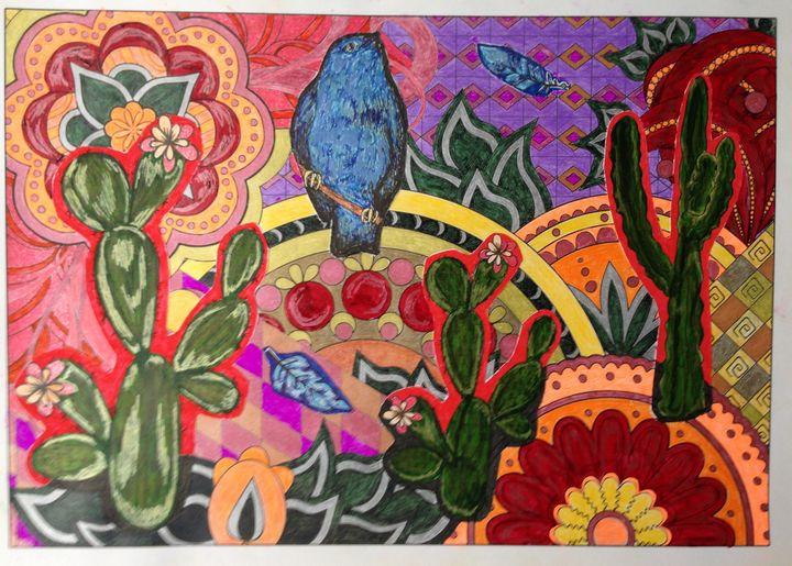Cactus and Blue Bird - Christina
