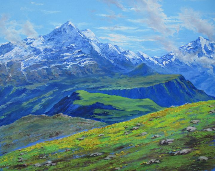"""Blue Mountains"", 24in x 36in, oil - Lesya Hanenko's Art"