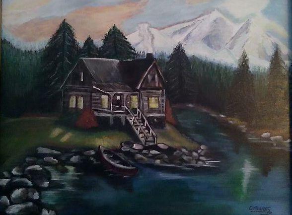 Lakeside Cabin - D.Middleton Paintings