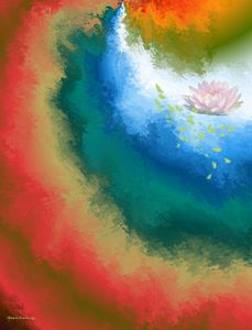 Painted Rainbow with Pink Water Lily