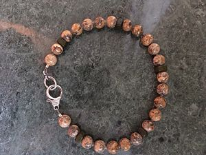 Unakite and wood men's bracel