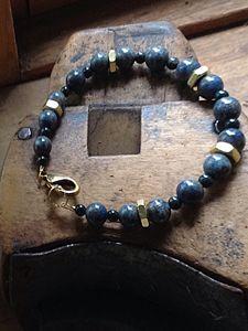 Men's lapis and brass nut bracelet - Gem4Edu