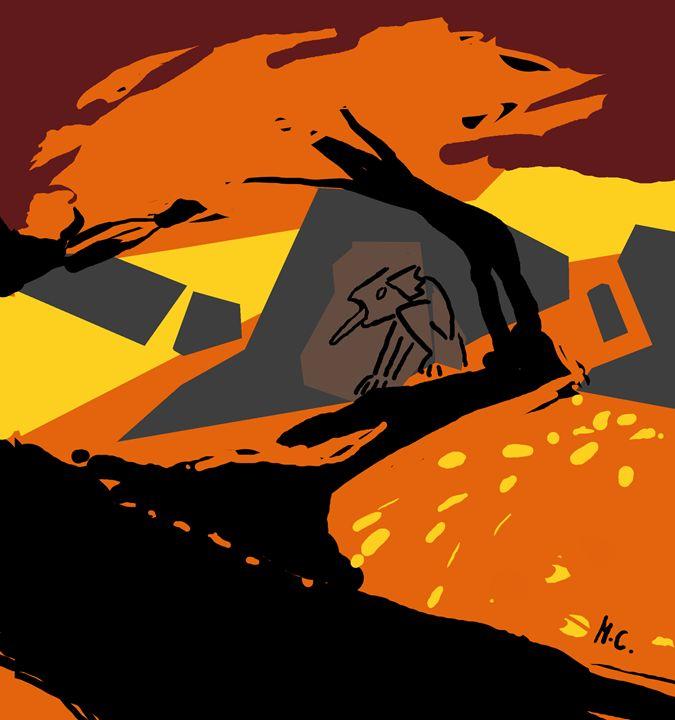 Melancholic Gargoyle Watching River - tril
