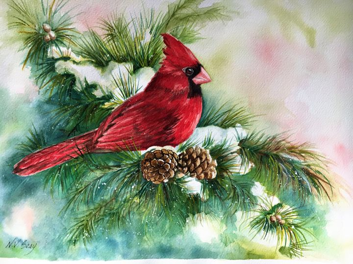 Cardinal in the Snowy Pines - Artscape