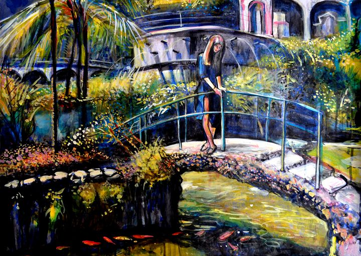 Girl Looking at Goldfishes in Tropic - Alex Solodov Art