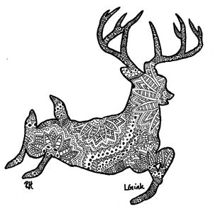 deer motive zentangle