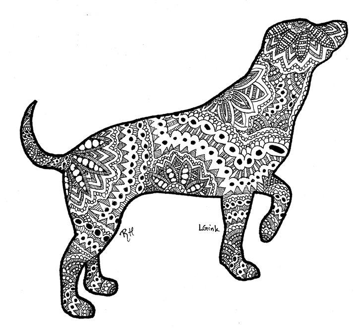 dog motive zentangle - Zentangle motives | Paintings ...
