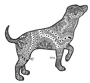 dog motive zentangle