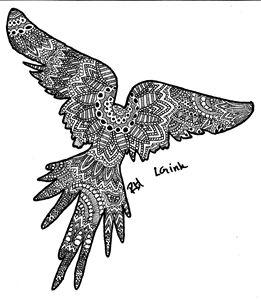 parrot zentangle motive