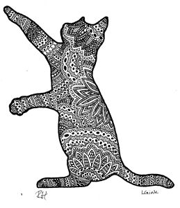 cat zentangle motive