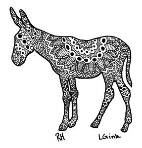 donkey zentangle motive