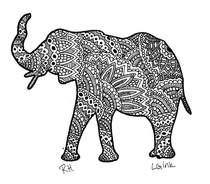 elephant zentangle motive - Zentangle motives