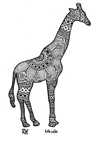 giraffe zentangle motive