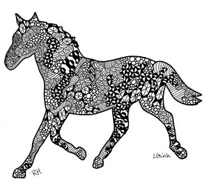 horse zentangle motive