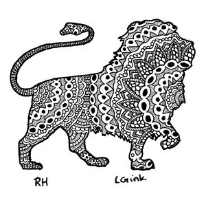 lion zentangle motive