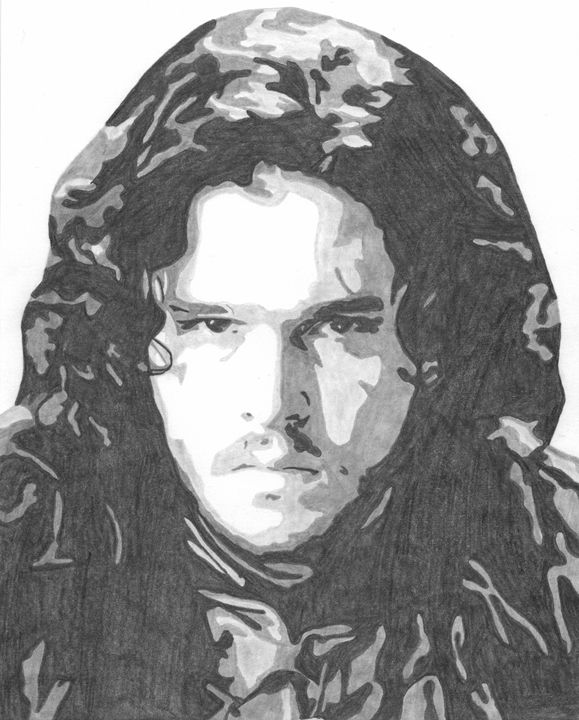 Jon Snow Game of Thrones Sketch - FivebyFiveCards
