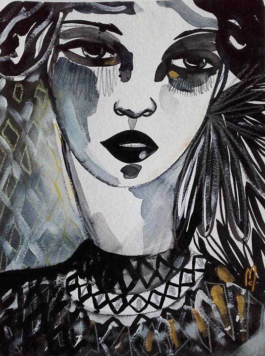 Portrait Woman Beauty Face - Céline Marcoz Art