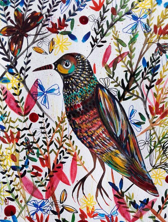 Bird Flowers Oiseau - Céline Marcoz Art
