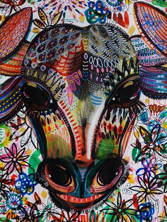 Bull Painting Taureau - Céline Marcoz Art