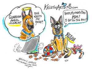 Regan and Coach-KristinArtPets.com