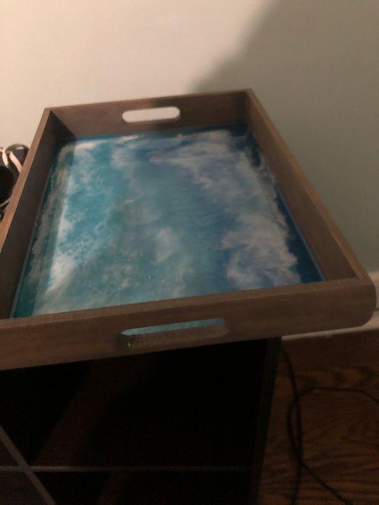 Ocean resin epoxy tray - Raven stola