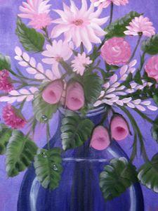Pink Bouquet w/Blue Glass Vase