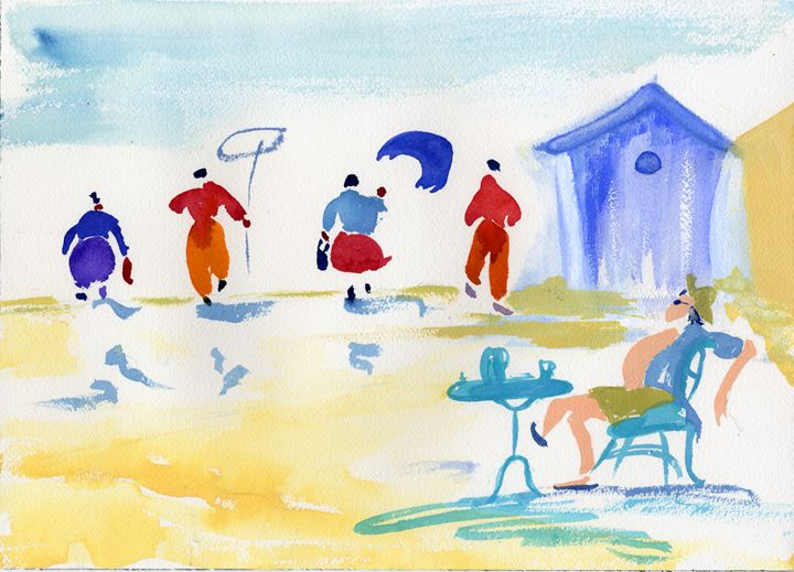 BEACH SCENE-(After Charles Cambier) - CALIOPE (Cali Norton)