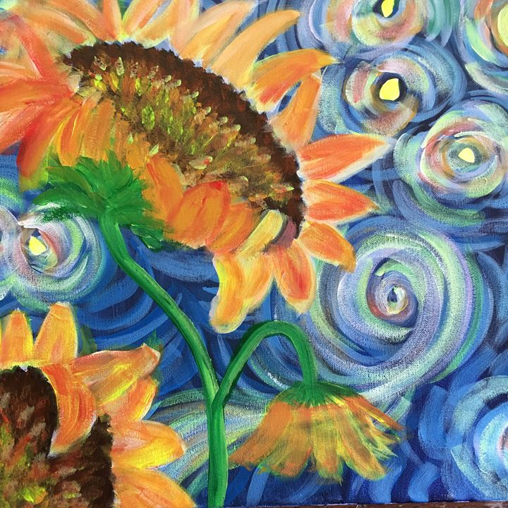 Sunflowers at Starry Night - Discover Color by Liza